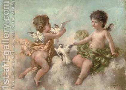 Cherubs and doves by Charles Augustus Henry Lutyens - Reproduction Oil Painting