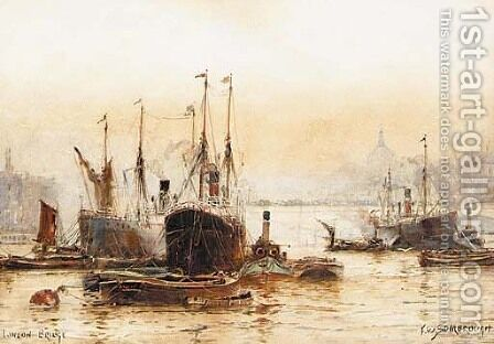 View a harbour with steamships by Albert Jnr. Ludovici - Reproduction Oil Painting