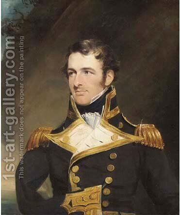 Portrait of Rear-Admiral William Bateman Dashwood in Naval dress uniform by James Lonsdale - Reproduction Oil Painting