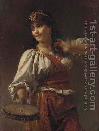 The tambourine girl by Charles Henri Joseph Lieckert - Reproduction Oil Painting