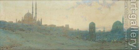 Cairo-Citadel From The Desert by Augustus Osborne Lamplough - Reproduction Oil Painting