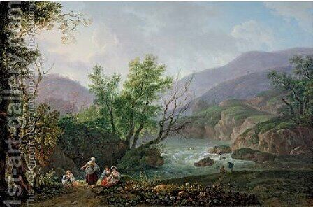 An Italianate river landscape with peasants seated on a bank by Carlo Labruzzi - Reproduction Oil Painting