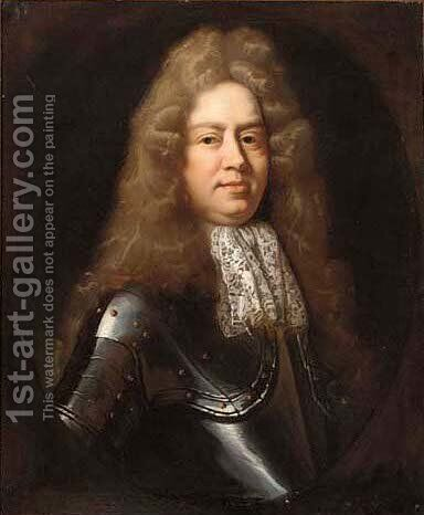 Portrait of a gentleman, half-length, in a lace jabot and armour, in a feigned oval by (after) Kneller, Sir Godfrey - Reproduction Oil Painting