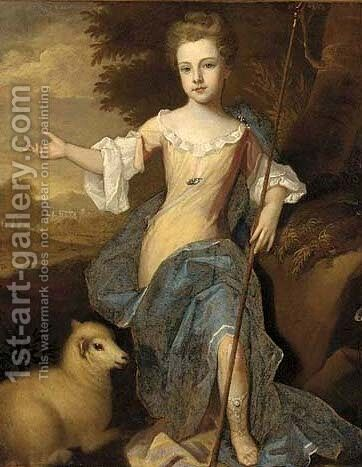 Portrait of a girl, full-length, as a shepherdess by (after) Kneller, Sir Godfrey - Reproduction Oil Painting