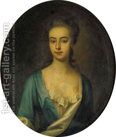 Portrait of a lady, bust-length, in a blue dress with white trim by (after) Kneller, Sir Godfrey - Reproduction Oil Painting