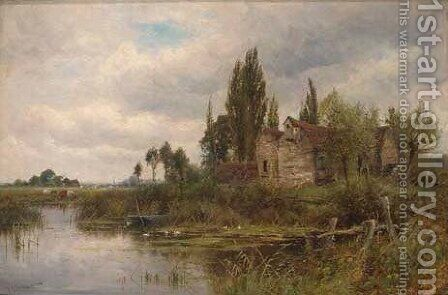 Old mill on the Chelmer, Essex by Henry John Kinnaird - Reproduction Oil Painting