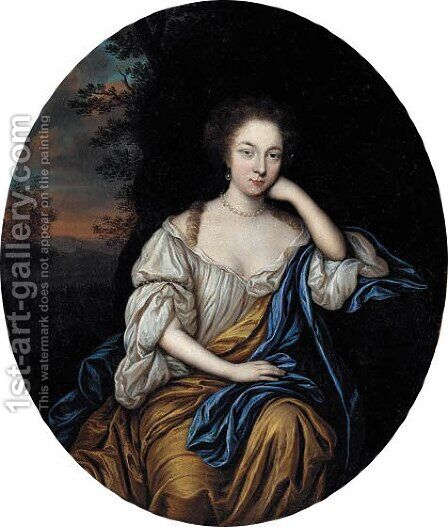 Portrait of a young woman in a white and gold dress by Cornelius Janssens van Ceulen - Reproduction Oil Painting