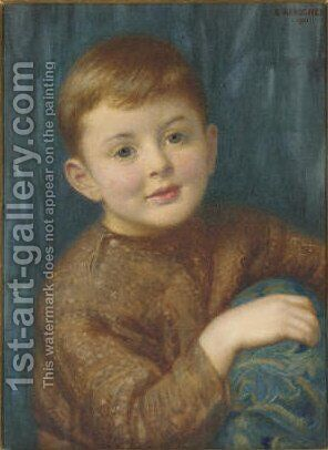 Portrait of Christopher Garnett, half-length, as a child by Edward Robert Hughes - Reproduction Oil Painting