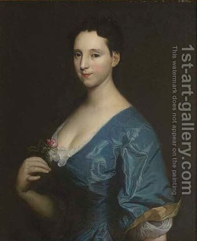 Portrait of a lady, half-length, in a blue dress, holding a red rose in her right hand by (after) Highmore, Joseph - Reproduction Oil Painting