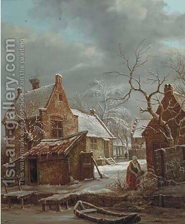 Daily activities on a farm in winter by Carel Lodewijk Hansen - Reproduction Oil Painting