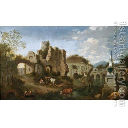 An Italianate Landscape With Figures Amongst Classical Ruins by Jan Griffier - Reproduction Oil Painting