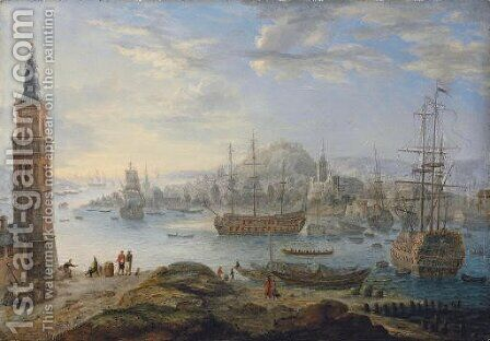 A busy port with three-masters, a tower in the left foreground and mountains beyond by Charles Leopold Grevenbroeck - Reproduction Oil Painting