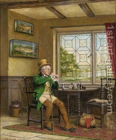 Tying a fly by Arthur Longlands Grace - Reproduction Oil Painting