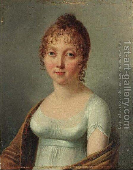 Portrait of Harriet Thayer, small half length, in an interior by Henri Nicolas van Gorp - Reproduction Oil Painting