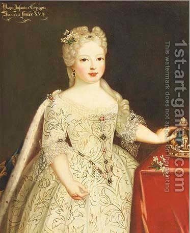 Portrait of a Marie-Anne-Victoire, Infanta d'Espagna by (attr. to) Gobert, Pierre - Reproduction Oil Painting