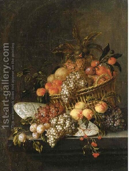 Grapes, peaches, oranges and other fruit in a basket by Jan Pauwel II the Younger Gillemans - Reproduction Oil Painting