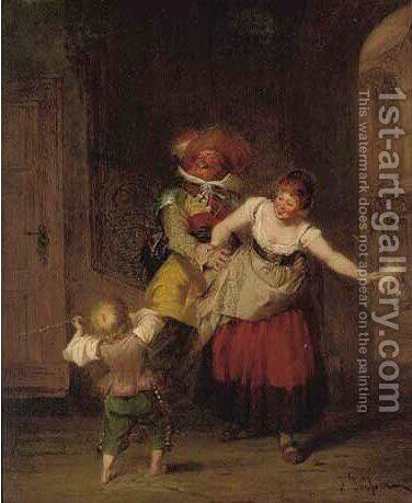 Flirtation by Jacob Emmanuel Gaisser - Reproduction Oil Painting