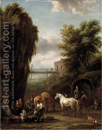 A rocky landscape with travellers at a forge by Barend Gael or Gaal - Reproduction Oil Painting