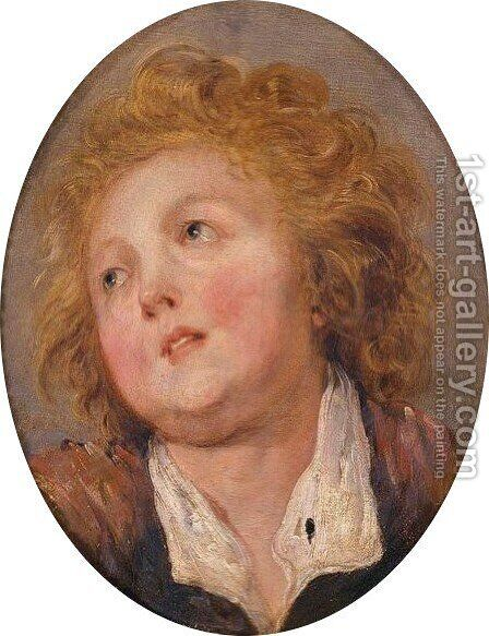 Head Of A Young Boy by (after) Fragonard, Jean-Honore - Reproduction Oil Painting