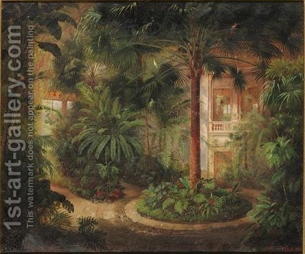 A View Of A Tropical Winter Garden With Palm Trees And Exotic Birds by Carl W.E. Fink - Reproduction Oil Painting