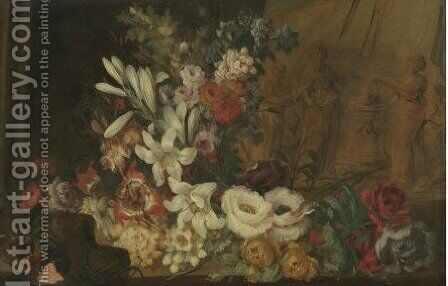 A Still Life With Lilies And Other Flowers by Benito Espinos - Reproduction Oil Painting