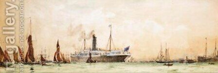 The Departure Of Rms Orontes From Tilbury by Charles Edward Dixon - Reproduction Oil Painting