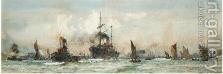 Below Gravesend 2 by Charles Edward Dixon - Reproduction Oil Painting