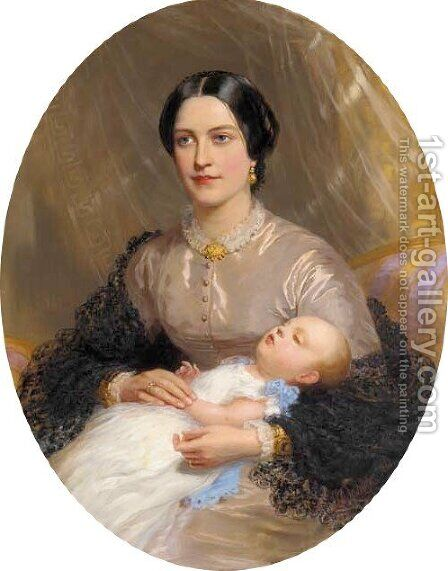 Portrait of a mother and child by Chevalier Louis-William Desanges - Reproduction Oil Painting