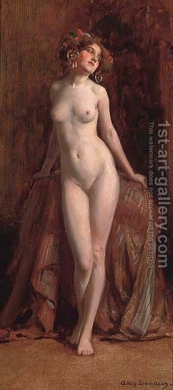 Standing female nude by Allan Douglas Davidson - Reproduction Oil Painting