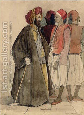 Four Men in Egyptian Dress by Adrien Dauzats - Reproduction Oil Painting