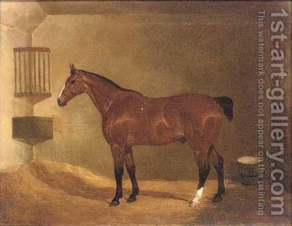 A bay hunter in a stable by David of York Dalby - Reproduction Oil Painting