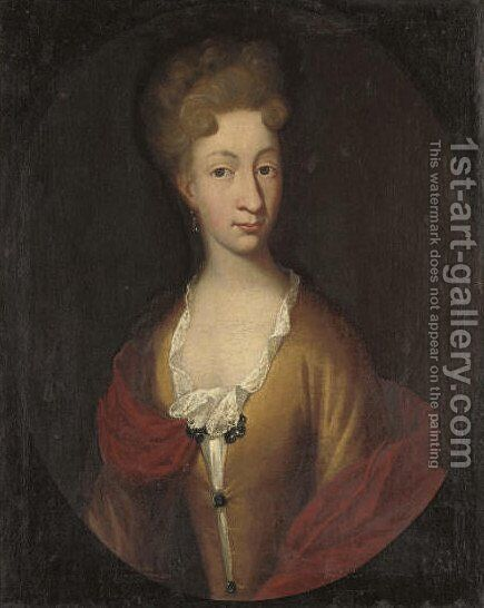 Portrait of Margaret Catherine Rosenkrantz, quarter-length, in a yellow dress with lace trim and a red wrap by (after) Dahl, Michael - Reproduction Oil Painting