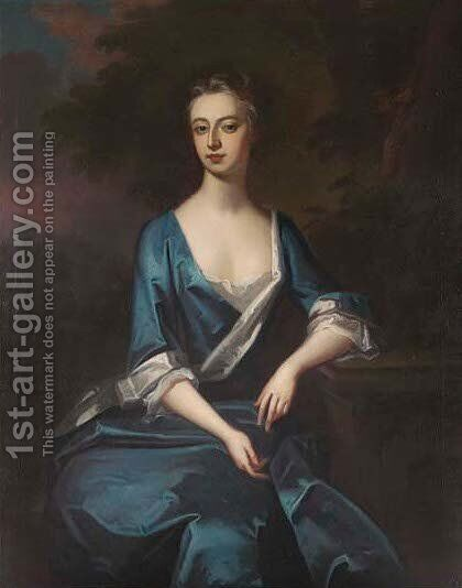 Portrait of Harriet, Duchess of Manchester, three-quarter-length, in a blue and white lined dress by (after) Dahl, Michael - Reproduction Oil Painting