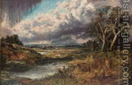 Anglers and farm workers beside a pool in an extensive landscape by (after) Constable, John - Reproduction Oil Painting