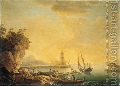 Mediterranean Harbour Scene At Sunset by (after)  Claude-Joseph Vernet - Reproduction Oil Painting
