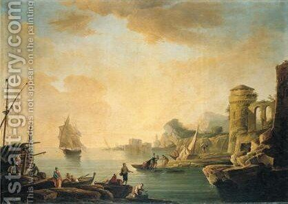 Mediterranean Harbour Scene At Sunset 2 by (after)  Claude-Joseph Vernet - Reproduction Oil Painting