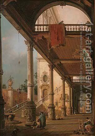 Figures in a classical arcade by (after) (Giovanni Antonio Canal) Canaletto - Reproduction Oil Painting