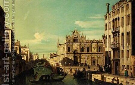 Venice, The Rio Dei Mendicanti And The Scuola Di San Marco by (after) (Giovanni Antonio Canal) Canaletto - Reproduction Oil Painting