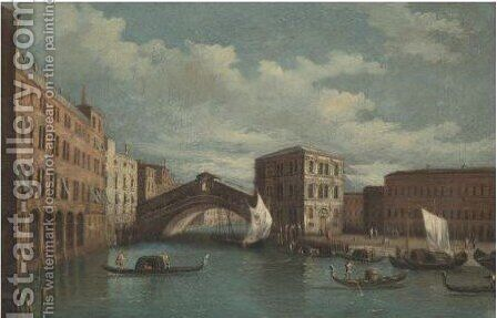Venice, A View Of The Rialto Bridge 2 by (after) (Giovanni Antonio Canal) Canaletto - Reproduction Oil Painting
