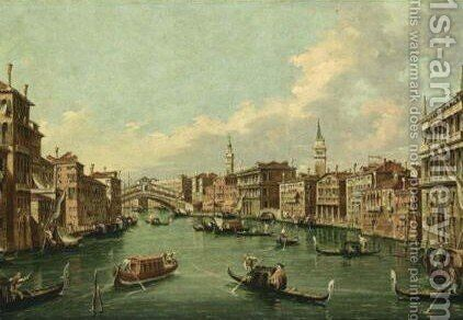 Venice The Canal Grande With A View Of The Rialto Bridge From The South by (after) (Giovanni Antonio Canal) Canaletto - Reproduction Oil Painting