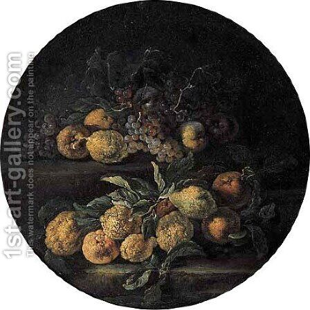 Grapes, lemons, oranges, pears, cherries, peaches and melons on stone ledges in landscape 2 by (after) Abraham Brueghel - Reproduction Oil Painting