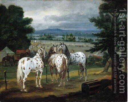An extensive landscape with horses on a bluff above a British military by (after) Adam Frans Van Der Meulen - Reproduction Oil Painting