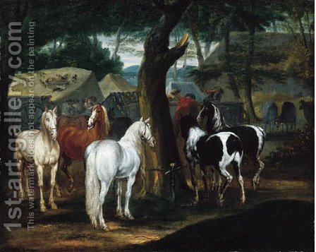 A wooded landscape with horses and figures in a French military encampment by (after) Adam Frans Van Der Meulen - Reproduction Oil Painting
