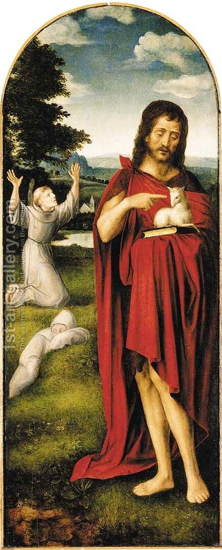 Saint John the Baptist in a landscape, Saint Francis of Assisi beyond by (after) Adriaen Isenbrandt (Ysenbrandt) - Reproduction Oil Painting