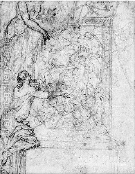 Study Of The Same Subject In A Frame Surrounded With Allegorical Figures by (after) Adriaen Van Der Werff - Reproduction Oil Painting