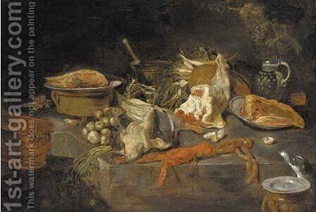 A lobster, a turkey, cuts of meat, vegetables and kitchen utensils by (after) Adriaen Van Utrecht - Reproduction Oil Painting