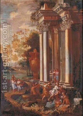 Bacchanals among classical ruins 2 by (after) Alberto Carlieri - Reproduction Oil Painting