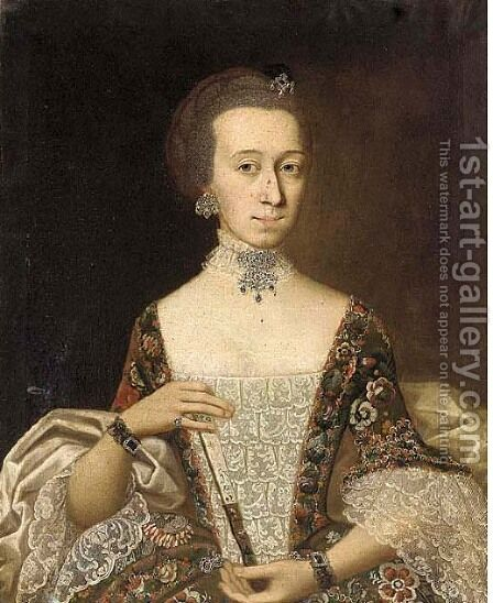 Portrait of a lady, half-length, holding a fan and in a floral print dress by (after) Alessandro Longhi - Reproduction Oil Painting