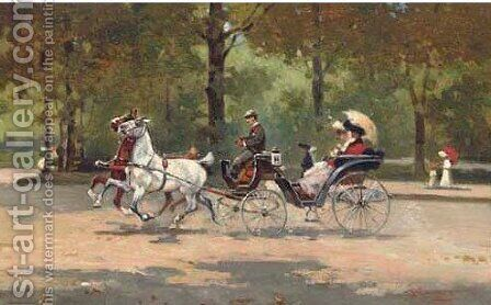 A ride through the park 2 by (after) Alfredo Tominz - Reproduction Oil Painting