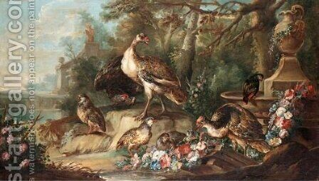 Still Life With Gamebirds In Parkland Landscape by (after) Angelo Maria Crivelli, Il Crivellone - Reproduction Oil Painting